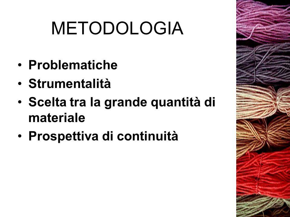 METODOLOGIA Problematiche Strumentalità Scelta tra la grande quantità di materiale Prospettiva di continuità
