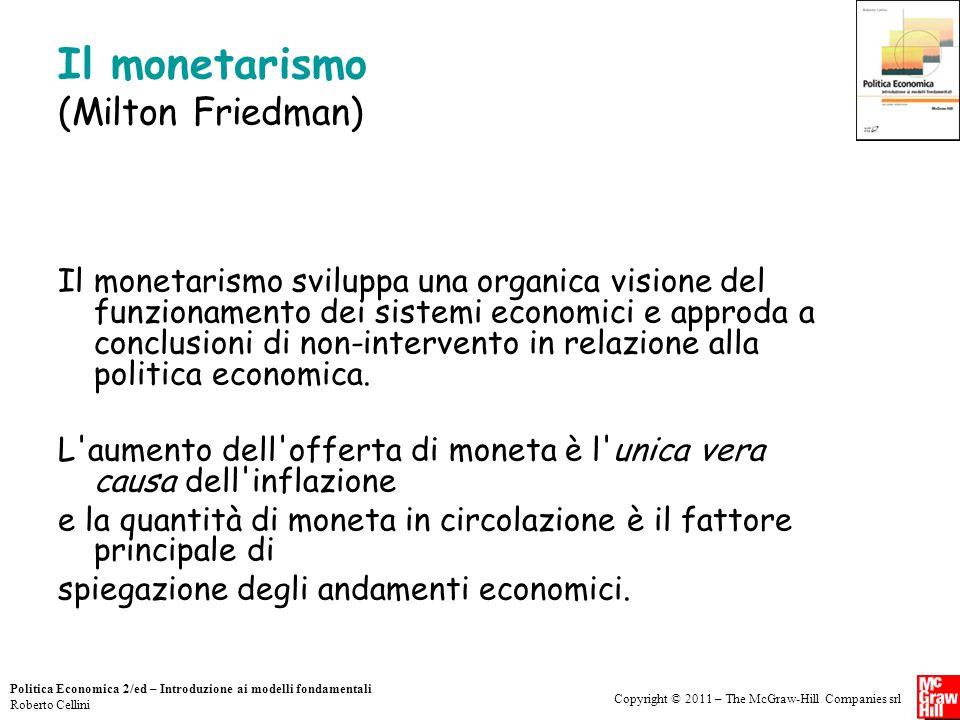 Copyright © 2011 – The McGraw-Hill Companies srl Politica Economica 2/ed – Introduzione ai modelli fondamentali Roberto Cellini Il monetarismo (Milton