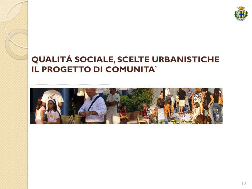 10 QUALITÀ SOCIALE, SCELTE URBANISTICHE IL PROGETTO DI COMUNITA'.