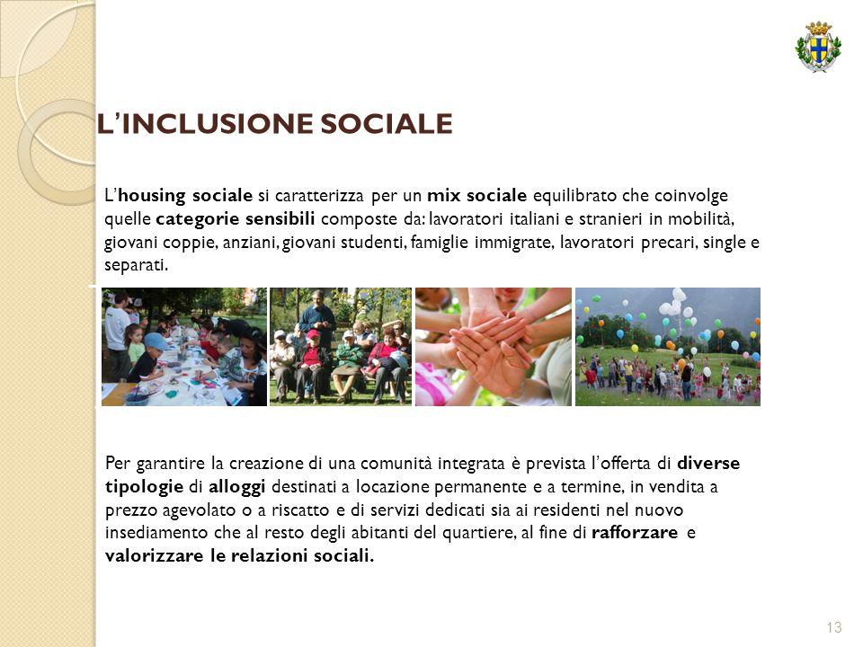 13 L'housing sociale si caratterizza per un mix sociale equilibrato che coinvolge quelle categorie sensibili composte da: lavoratori italiani e strani