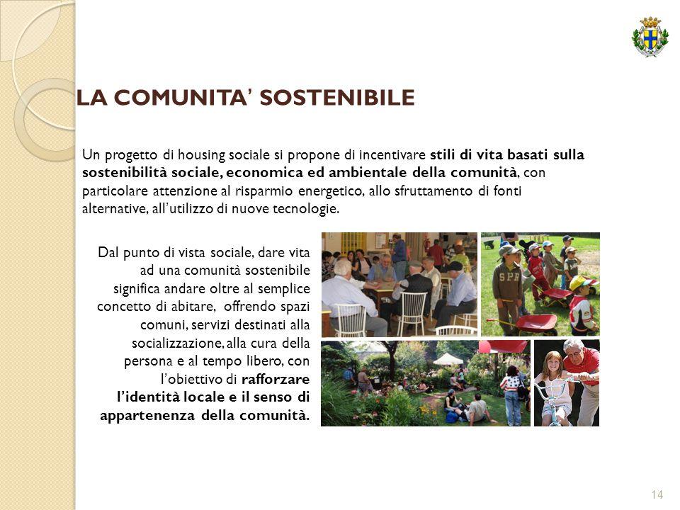14 Un progetto di housing sociale si propone di incentivare stili di vita basati sulla sostenibilità sociale, economica ed ambientale della comunità,