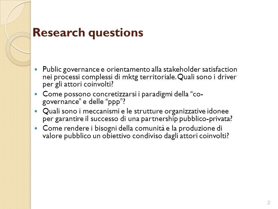 2 Research questions Public governance e orientamento alla stakeholder satisfaction nei processi complessi di mktg territoriale. Quali sono i driver p