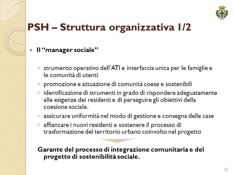"""20 PSH – Struttura organizzativa 1/2 Il """"manager sociale"""" ◦ strumento operativo dell'ATI e interfaccia unica per le famiglie e le comunità di utenti ◦"""