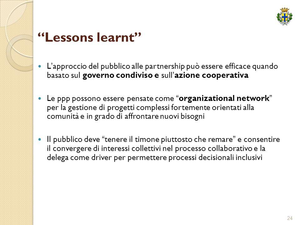 """24 """"Lessons learnt"""" L'approccio del pubblico alle partnership può essere efficace quando basato sul governo condiviso e sull'azione cooperativa Le ppp"""