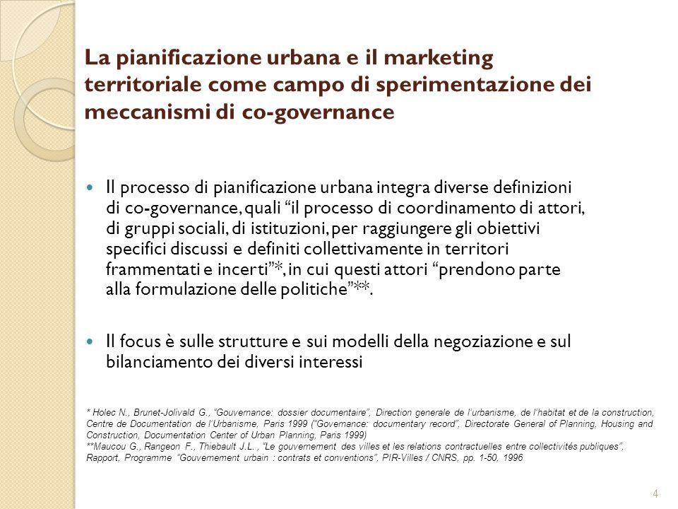 4 La pianificazione urbana e il marketing territoriale come campo di sperimentazione dei meccanismi di co-governance Il processo di pianificazione urb
