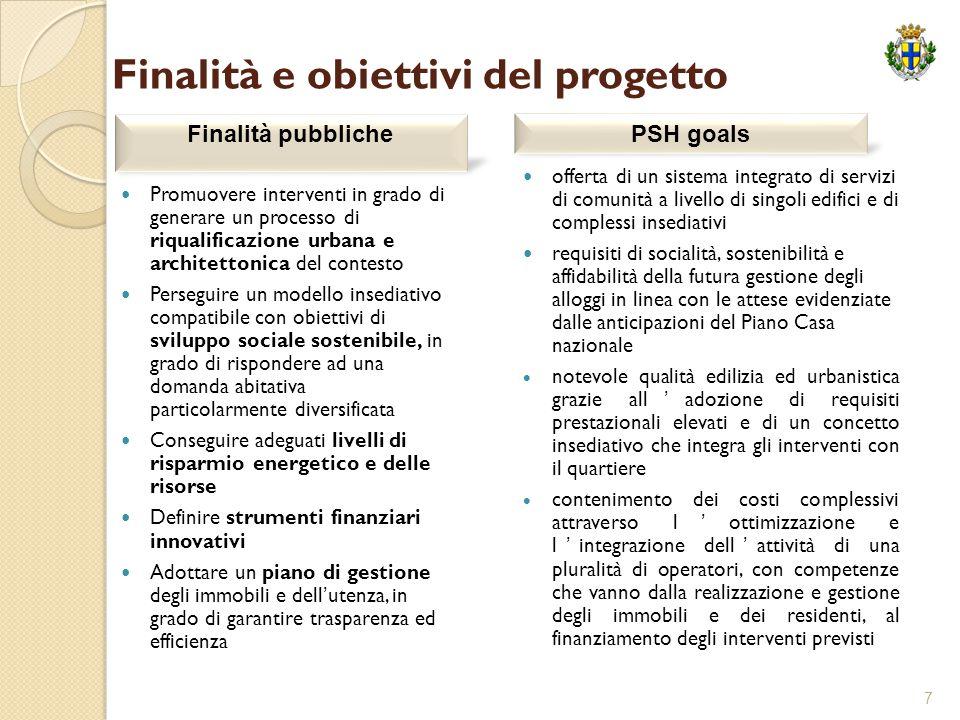 7 Finalità e obiettivi del progetto Promuovere interventi in grado di generare un processo di riqualificazione urbana e architettonica del contesto Pe