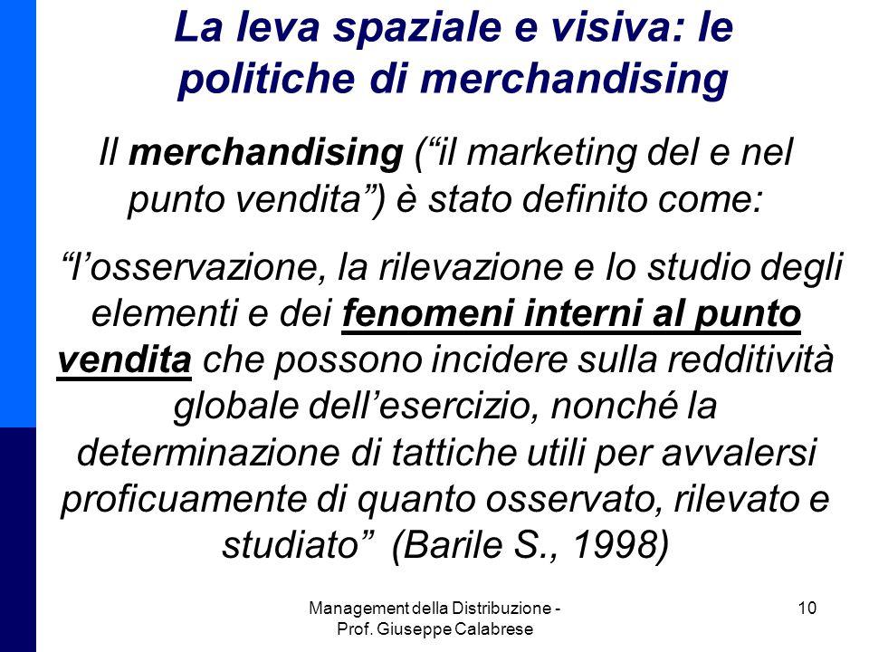 """Management della Distribuzione - Prof. Giuseppe Calabrese 10 La leva spaziale e visiva: le politiche di merchandising Il merchandising (""""il marketing"""