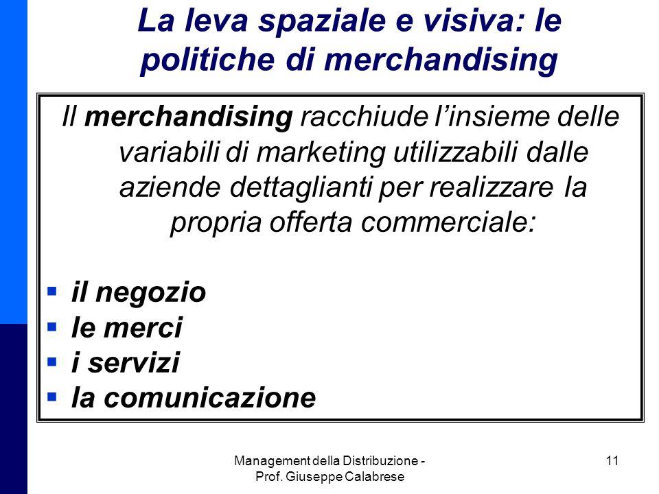 Management della Distribuzione - Prof. Giuseppe Calabrese 11 La leva spaziale e visiva: le politiche di merchandising Il merchandising racchiude l'ins