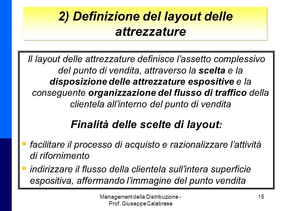Management della Distribuzione - Prof. Giuseppe Calabrese 15 2) Definizione del layout delle attrezzature Il layout delle attrezzature definisce l'ass