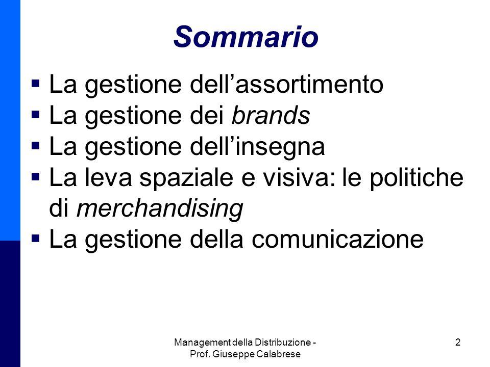 Management della Distribuzione - Prof. Giuseppe Calabrese 2 Sommario  La gestione dell'assortimento  La gestione dei brands  La gestione dell'inseg
