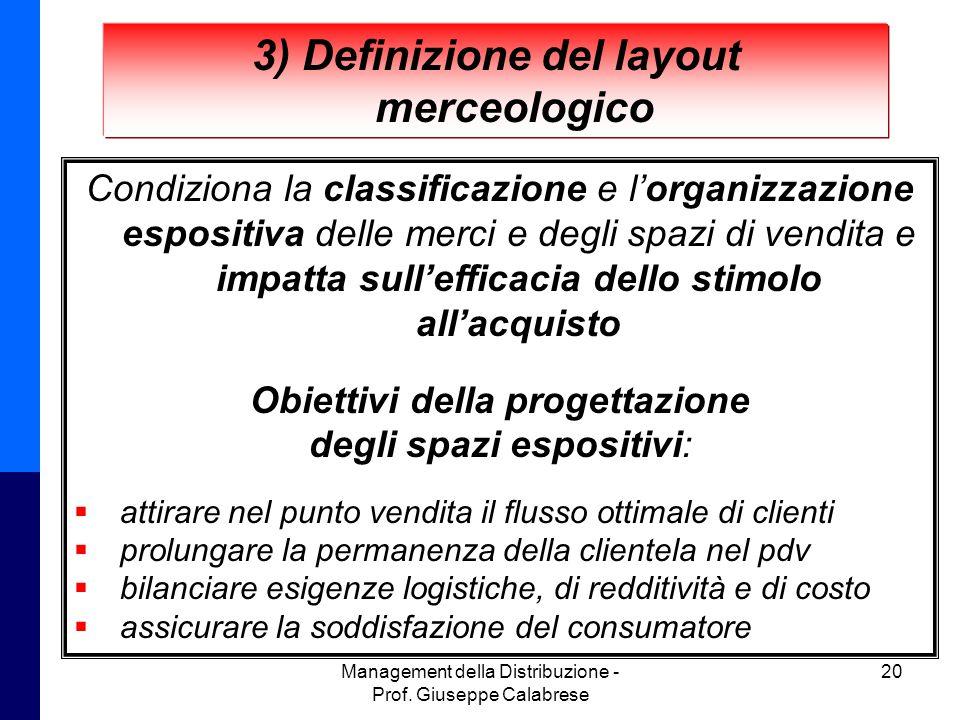 Management della Distribuzione - Prof. Giuseppe Calabrese 20 3) Definizione del layout merceologico Condiziona la classificazione e l'organizzazione e