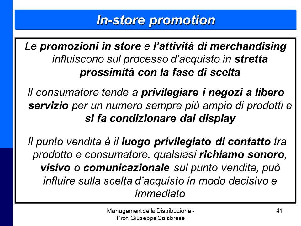 Management della Distribuzione - Prof. Giuseppe Calabrese 41 In-store promotion Le promozioni in store e l'attività di merchandising influiscono sul p