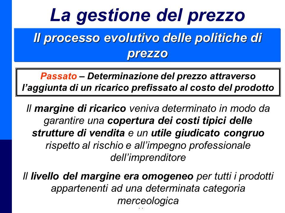 Management della Distribuzione - Prof. Giuseppe Calabrese 46 La gestione del prezzo Il processo evolutivo delle politiche di prezzo Passato – Determin
