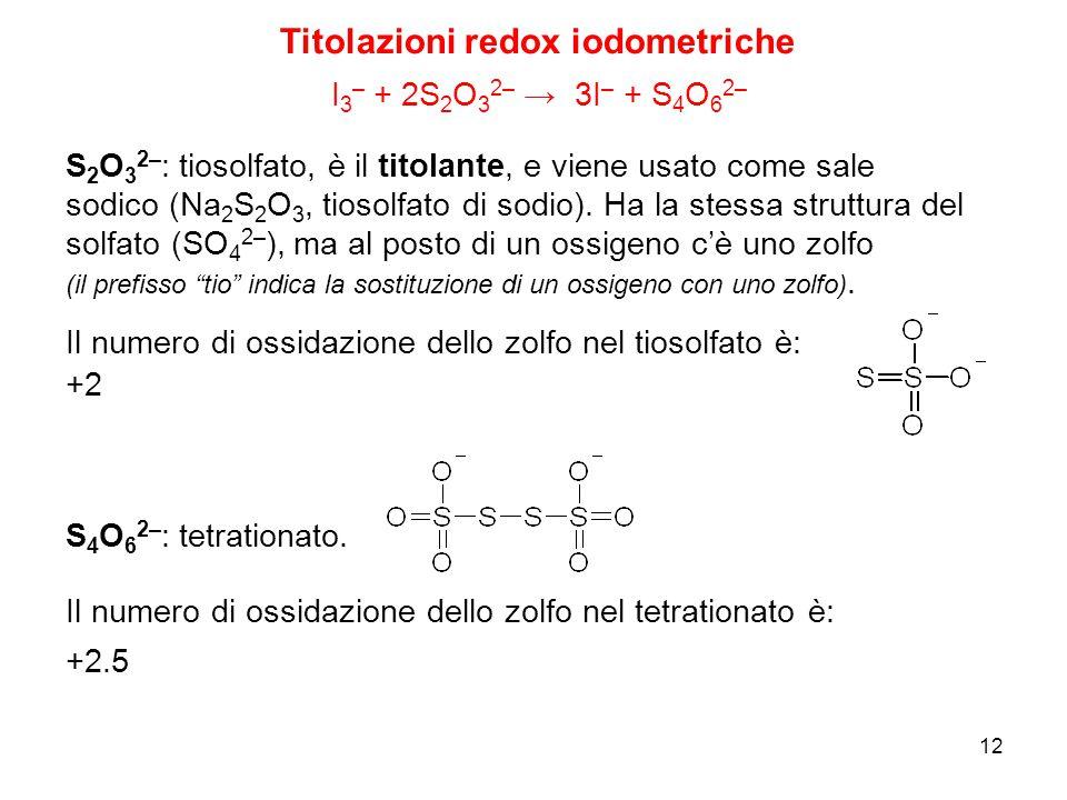 12 Titolazioni redox iodometriche I 3 – + 2S 2 O 3 2– → 3I – + S 4 O 6 2– S 2 O 3 2– : tiosolfato, è il titolante, e viene usato come sale sodico (Na