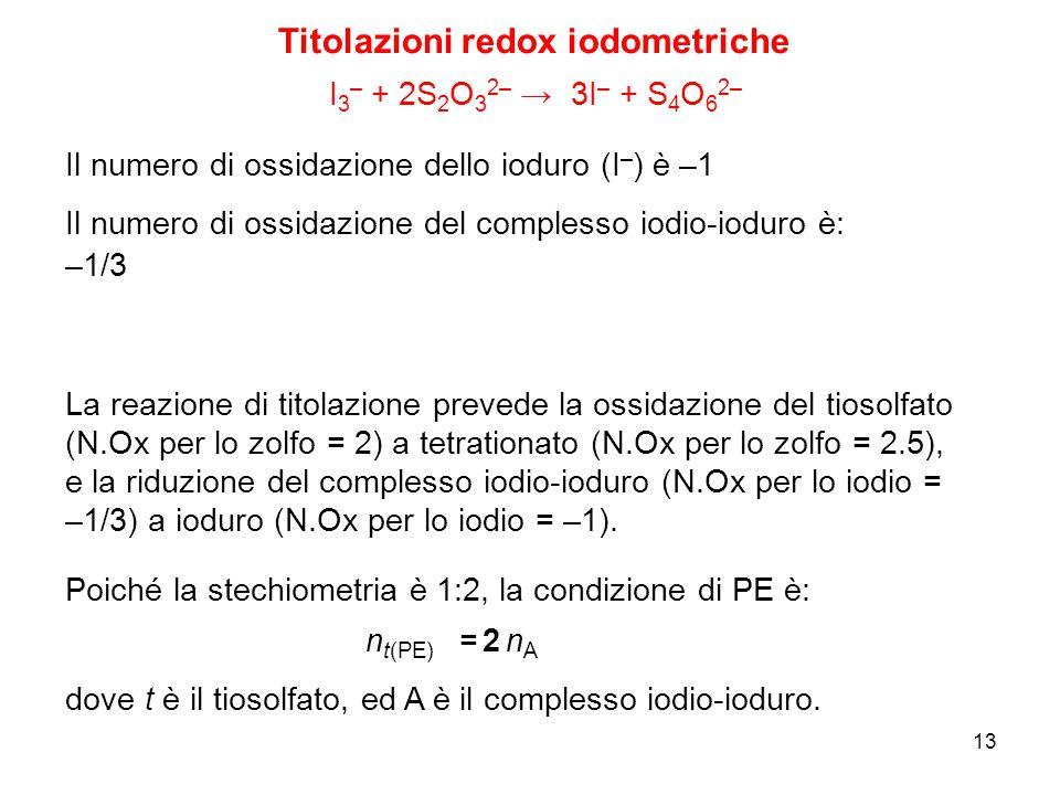 13 Titolazioni redox iodometriche I 3 – + 2S 2 O 3 2– → 3I – + S 4 O 6 2– Il numero di ossidazione del complesso iodio-ioduro è: Il numero di ossidazi
