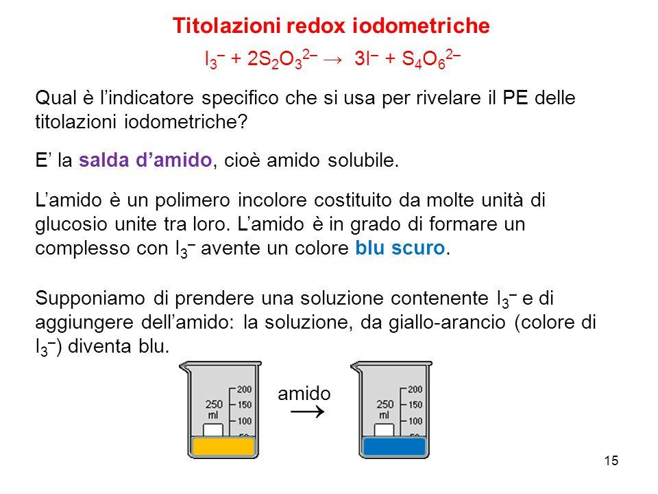 15 Titolazioni redox iodometriche I 3 – + 2S 2 O 3 2– → 3I – + S 4 O 6 2– Qual è l'indicatore specifico che si usa per rivelare il PE delle titolazion