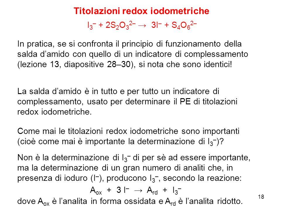 Titolazioni redox iodometriche I 3 – + 2S 2 O 3 2– → 3I – + S 4 O 6 2– In pratica, se si confronta il principio di funzionamento della salda d'amido c