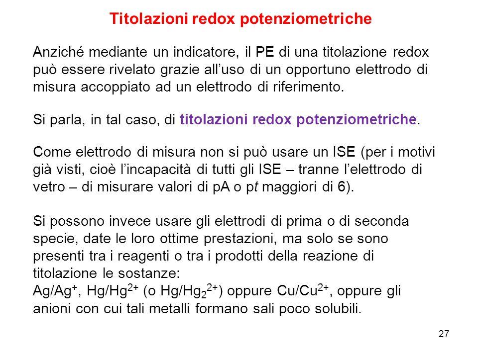 27 Titolazioni redox potenziometriche Anziché mediante un indicatore, il PE di una titolazione redox può essere rivelato grazie all'uso di un opportun