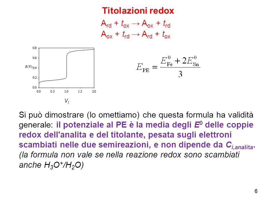6 Titolazioni redox A ox + t rd → A rd + t ox A rd + t ox → A ox + t rd VtVt Si può dimostrare (lo omettiamo) che questa formula ha validità generale: