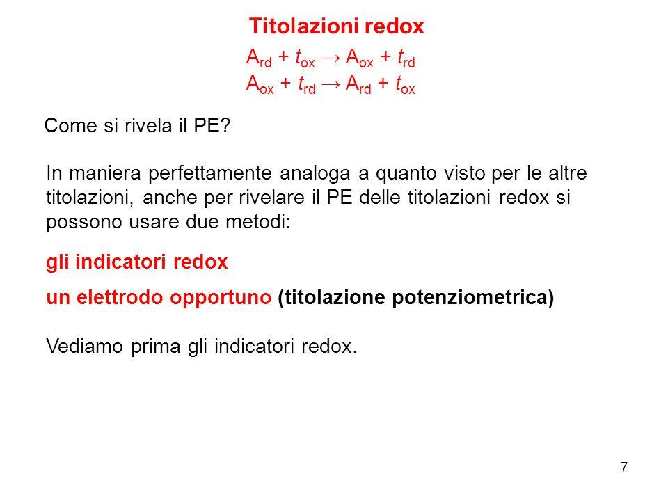 7 Titolazioni redox A ox + t rd → A rd + t ox A rd + t ox → A ox + t rd Come si rivela il PE? In maniera perfettamente analoga a quanto visto per le a