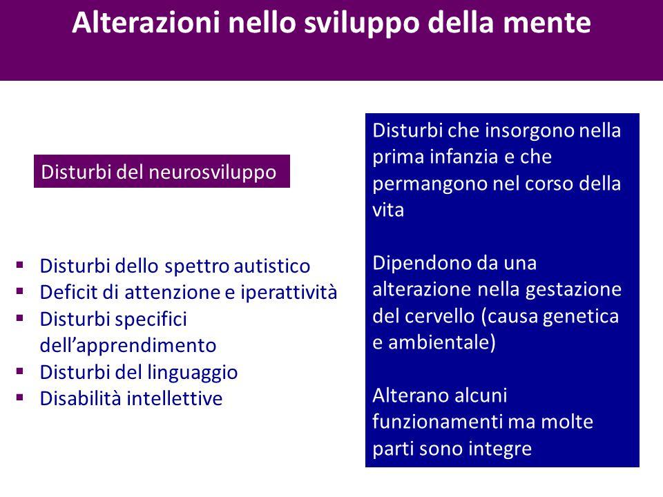 Alterazioni nello sviluppo della mente Disturbi del neurosviluppo Disturbi che insorgono nella prima infanzia e che permangono nel corso della vita Di