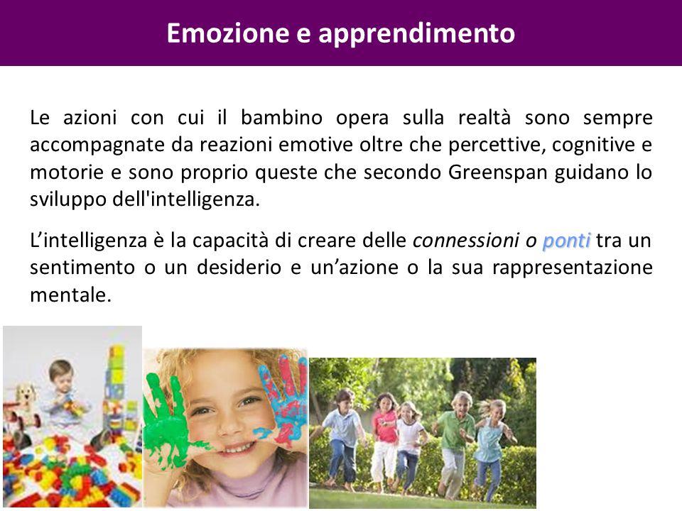 Emozione e apprendimento Le azioni con cui il bambino opera sulla realtà sono sempre accompagnate da reazioni emotive oltre che percettive, cognitive