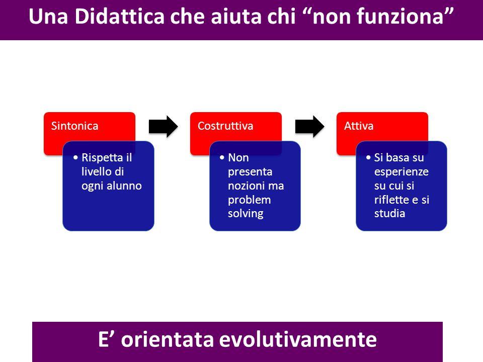 """Una Didattica che aiuta chi """"non funziona"""" E' orientata evolutivamente Sintonica Rispetta il livello di ogni alunno Costruttiva Non presenta nozioni m"""