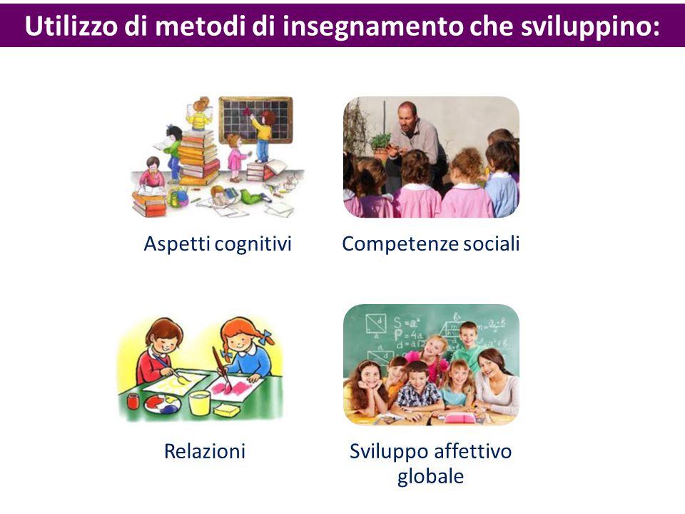 Utilizzo di metodi di insegnamento che sviluppino: Aspetti cognitiviCompetenze sociali Relazioni Sviluppo affettivo globale