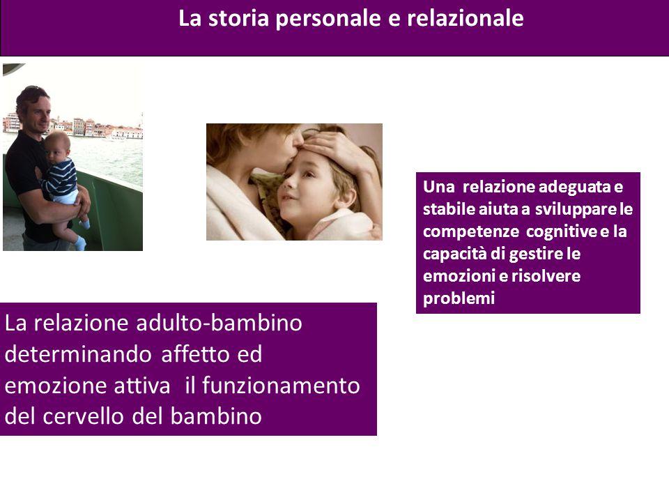 La relazione adulto-bambino determinando affetto ed emozione attiva il funzionamento del cervello del bambino La storia personale e relazionale Una re