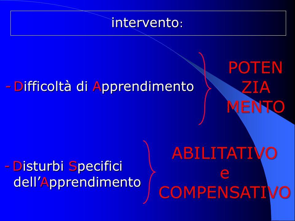 intervento : intervento : - Difficoltà di Apprendimento - Difficoltà di Apprendimento - Disturbi Specifici - Disturbi Specifici dell'Apprendimento del