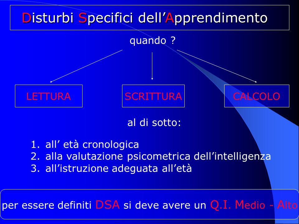 per essere definiti DSA si deve avere un Q. I. M edio - A lto Disturbi Specifici dell'Apprendimento 1.all' età cronologica 2.alla valutazione psicomet