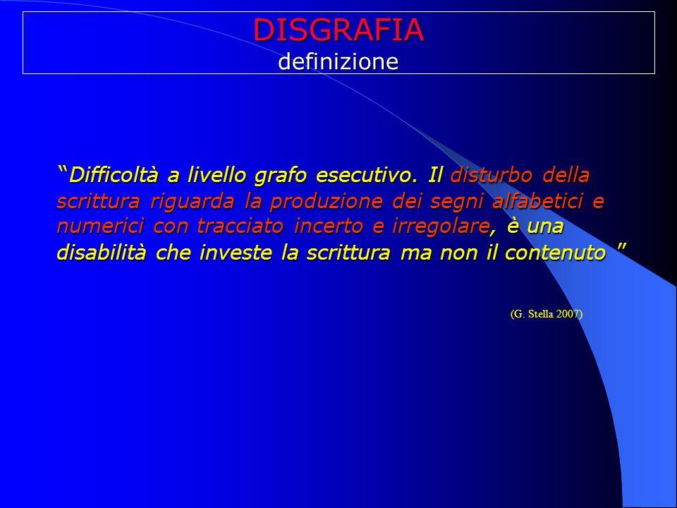 """DISGRAFIAdefinizione """" Difficoltà a livello grafo esecutivo. Il disturbo della scrittura riguarda la produzione dei segni alfabetici e numerici con tr"""