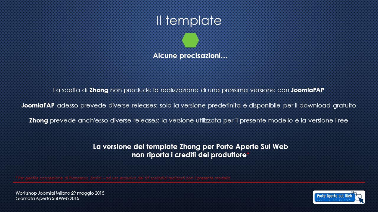 Il template Alcune precisazioni… La scelta di Zhong non preclude la realizzazione di una prossima versione con JoomlaFAP JoomlaFAP adesso prevede dive