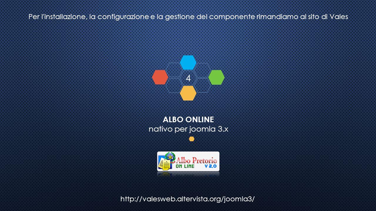 http://valesweb.altervista.org/joomla3/ ALBO ONLINE nativo per joomla 3.x 4 Per l'installazione, la configurazione e la gestione del componente rimand