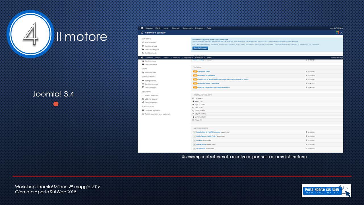 Il motore Joomla! 3.4 Un esempio di schermata relativa al pannello di amministrazione Workshop Joomla! Milano 29 maggio 2015 Giornata Aperta Sul Web 2