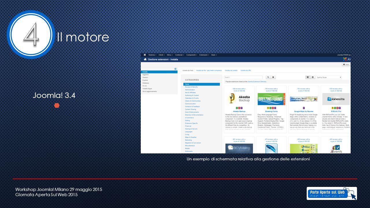 Il motore Joomla! 3.4 Un esempio di schermata relativa alla gestione delle estensioni Workshop Joomla! Milano 29 maggio 2015 Giornata Aperta Sul Web 2