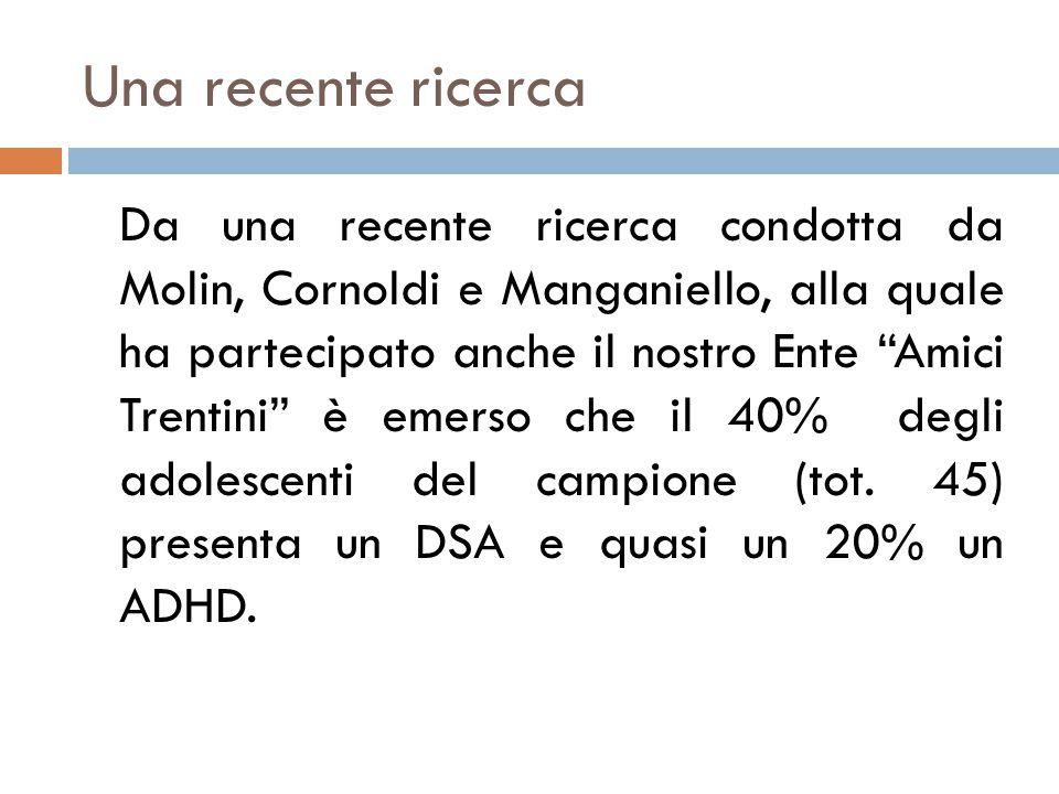 Una recente ricerca Da una recente ricerca condotta da Molin, Cornoldi e Manganiello, alla quale ha partecipato anche il nostro Ente Amici Trentini è emerso che il 40% degli adolescenti del campione (tot.
