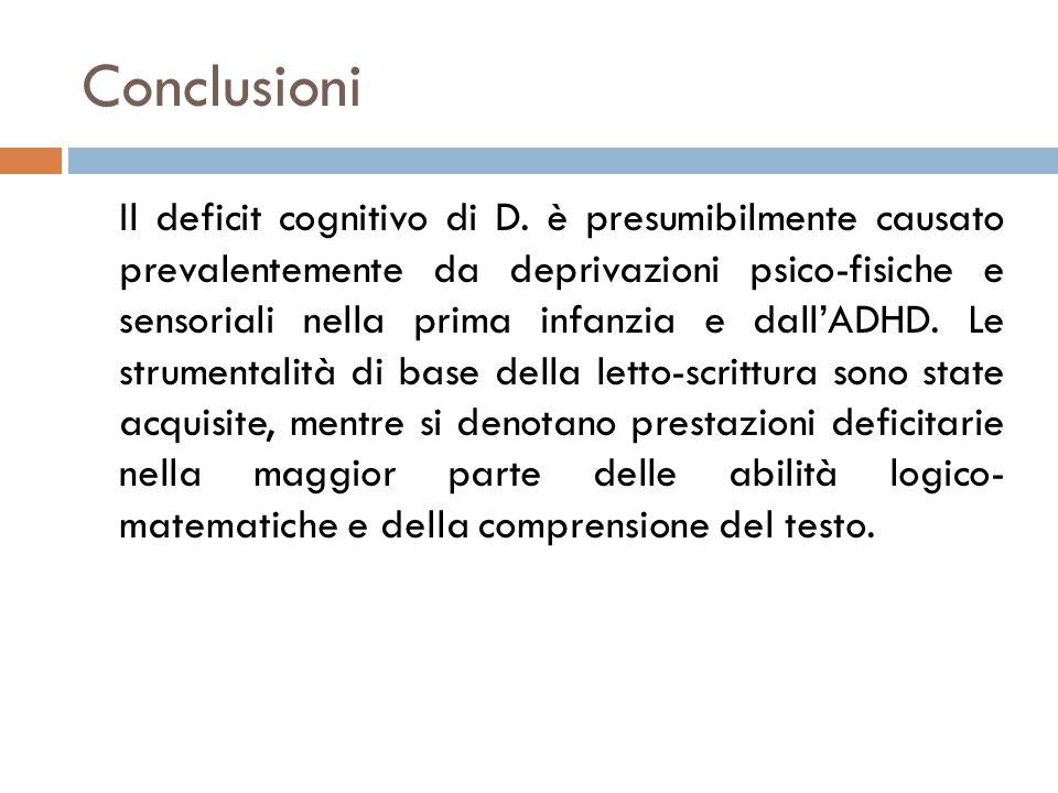 Conclusioni Il deficit cognitivo di D.