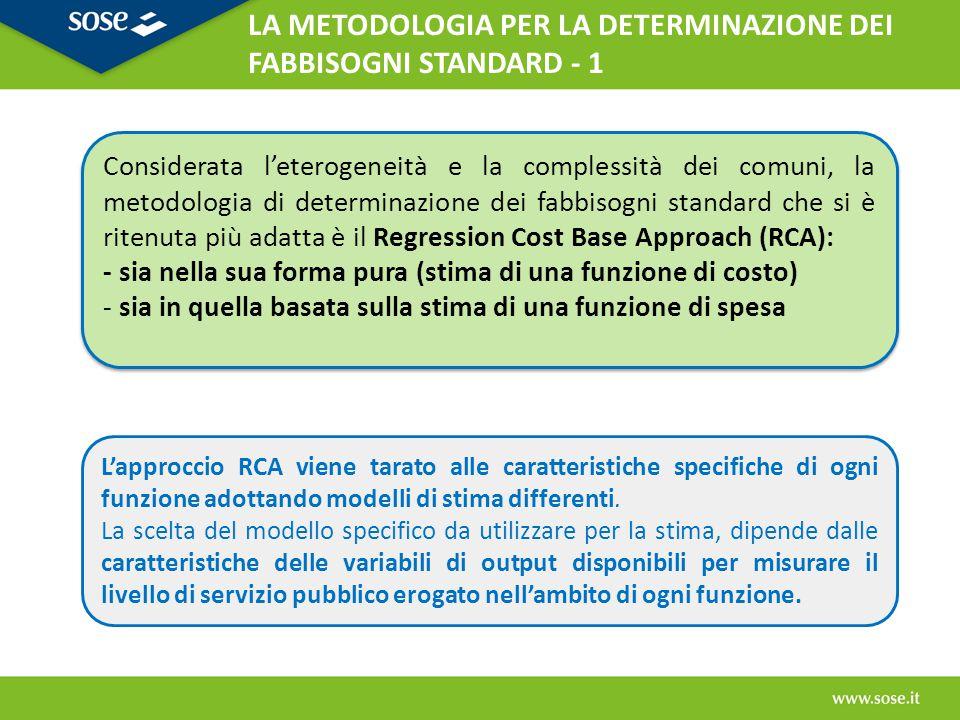 Livello dei servizi locali erogati poco misurabile FUNZIONE DI SPESA: relazione spesa storica con le variabili di contesto della domanda dei servizi locali.