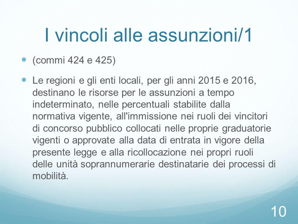 I vincoli alle assunzioni/1 (commi 424 e 425) Le regioni e gli enti locali, per gli anni 2015 e 2016, destinano le risorse per le assunzioni a tempo i