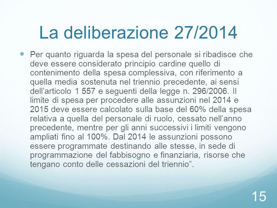 La deliberazione 27/2014 Per quanto riguarda la spesa del personale si ribadisce che deve essere considerato principio cardine quello di contenimento