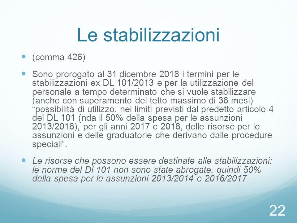 Le stabilizzazioni (comma 426) Sono prorogato al 31 dicembre 2018 i termini per le stabilizzazioni ex DL 101/2013 e per la utilizzazione del personale