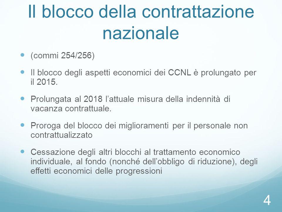 Il blocco della contrattazione nazionale (commi 254/256) Il blocco degli aspetti economici dei CCNL è prolungato per il 2015. Prolungata al 2018 l'att