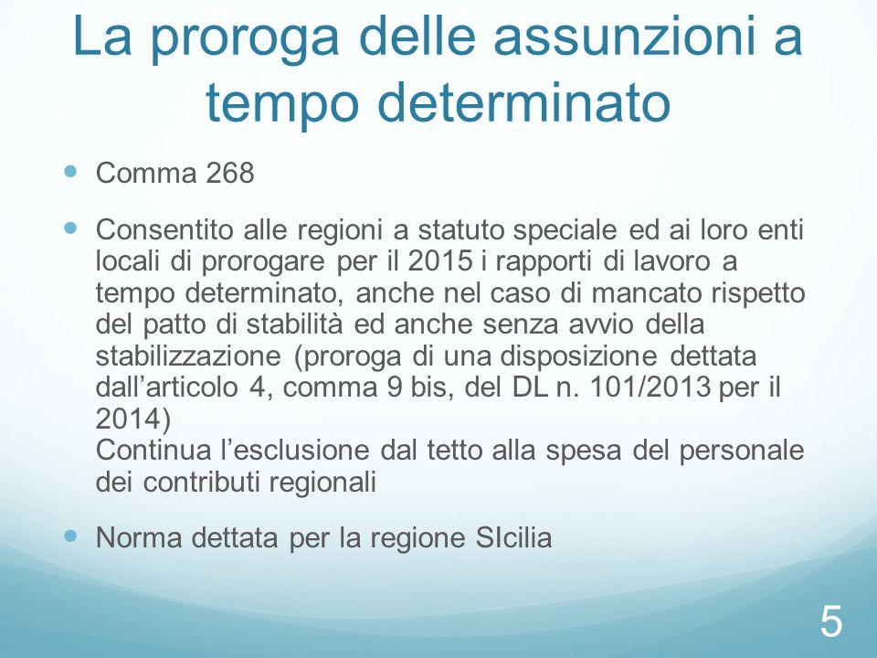 La proroga delle assunzioni a tempo determinato Comma 268 Consentito alle regioni a statuto speciale ed ai loro enti locali di prorogare per il 2015 i