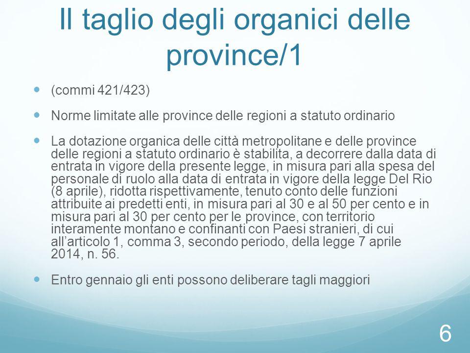 Il taglio degli organici delle province/1 (commi 421/423) Norme limitate alle province delle regioni a statuto ordinario La dotazione organica delle c