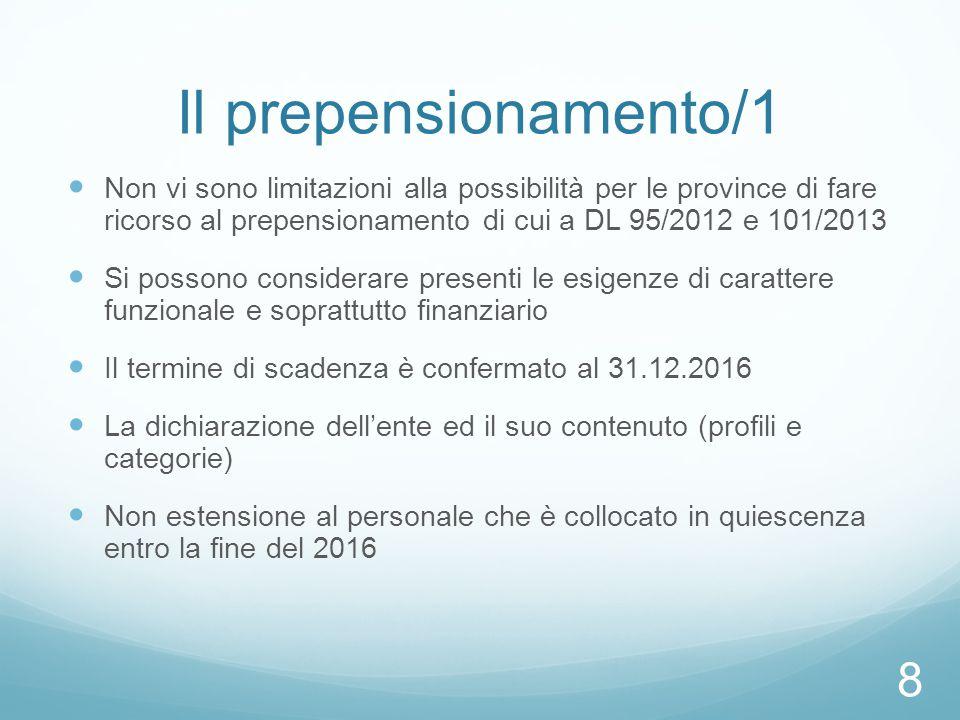 Il prepensionamento/1 Non vi sono limitazioni alla possibilità per le province di fare ricorso al prepensionamento di cui a DL 95/2012 e 101/2013 Si p
