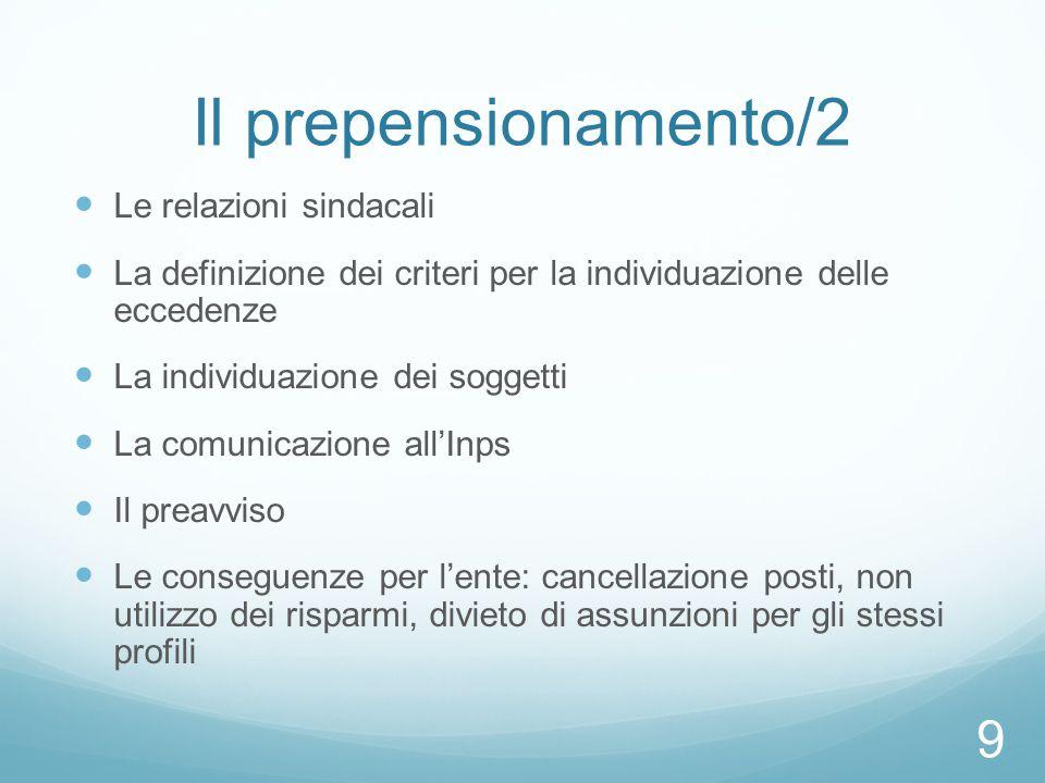 Il prepensionamento/2 Le relazioni sindacali La definizione dei criteri per la individuazione delle eccedenze La individuazione dei soggetti La comuni