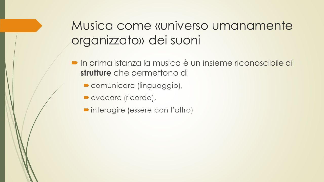 Musica come «universo umanamente organizzato» dei suoni  In prima istanza la musica è un insieme riconoscibile di strutture che permettono di  comunicare (linguaggio),  evocare (ricordo),  interagire (essere con l'altro)