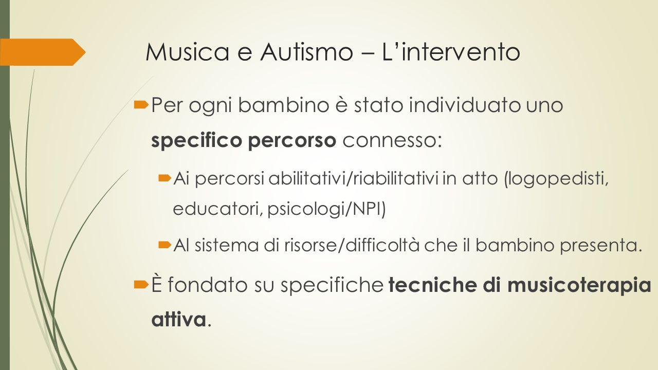 Musica e Autismo – L'intervento  Per ogni bambino è stato individuato uno specifico percorso connesso:  Ai percorsi abilitativi/riabilitativi in att