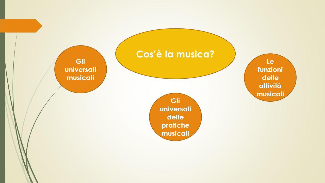 Gli universali delle pratiche musicali Gli universali musicali Le funzioni delle attività musicali Cos'è la musica?
